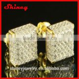 new model 2014 fashion bling hot selling mciro pave cube 18k gold earrings