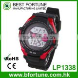 LP1338_RD Rubber red color Chrono Alarm Date/Day Tech digital Multifunction light up digital watches kids watch