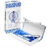 HOT! Porcelain White Blue Fountain Pen Chinese Culture Dragons Phoenix 18kgp Nib M with Push in Style Ink Converter(free sample)