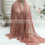 2016 Latest Charm Beautiful Hollow Out Butterfly Embroidery Plain Cotton Linen Scarf                                                                         Quality Choice