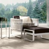 Wicker rattan white chaise lounge for hotel (DH-9731)