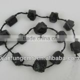 Black tourmaline nugget beads for jewelry