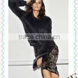 Alibaba China wholesale Lady Autumn Fashion Design Knitted Black Rabbit Fur Sweater,OEM ONLY!