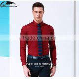 In the spring of the new Men's business casual classic pure color long sleeve shirts