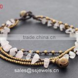 Crystal Quartz Chip Four Layers Brass Bell Bracelets For Women Rosary Handmade Custom Jewellry Wholesale