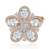 Platinum Plated Vintage Flower Sparkling Elegant Brooch With AAA+ Cz Micro Pave Setting for Women and Men