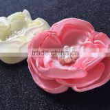 6 Layers Satin Flower With Rhinestone Pearl Center,Pink Ivory Handmade Flower For Wedding Decoration