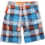 Summer White Checked Pattern Woven Beach Swim Shorts