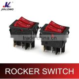 4pins 6pins rocker switch with lamp/light illuminated on-on double button DPST big current 6P 16A 250V AC KCD4-202NC-2