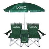 Promotional Folding Beach/Camping/ Patio Double Chair With Umbrella And Cooler Bag                                                                         Quality Choice