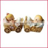 Resin baby crafts baby figurine decoration baby in baby carriage