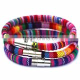 Wholesale Women Handmade Jewelry Colorful Cotton Cord Rope Bangle Magnetic Buckle Bracelet