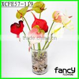 Single head red anthurium flowers, 51cm anthurium artificial flowers for public decoration