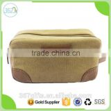 Factory Wholesale split joint canvas and PU Cosmetic Bag for men to travel