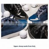 OLZS7 Blue and Black optional lace up flat rubber out sole fashion cute sneakers for teenagers