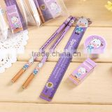 Cute 5pcs stationery sets for promional gifts pencil eraser sharpener, ruler for student