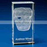 Novel 3d laser crystal portrait, crystal paperweight, block with customized picture