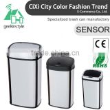 8 10 13 Gallon Infrared Touchless Dustbin Stainless Steel Waste bin 13 gallon trash cans black SD-007