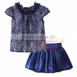 Pettigirl Girls Clothing Sets With Lace Top And Navy Skirt Grace Kids Suit Wholesale Baby Wear CS81207-13L