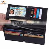 Luckiplus RFID Theft Blocking Leather Wallet for Men Black Cell Phone Holder Slim Card Wallet