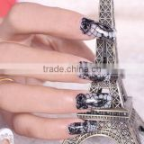 Customized 16 Tips Black Lace Nail Sticker