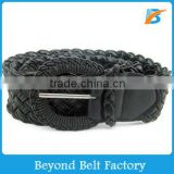 Ladies Fashion Black Web Woven Braid Faux Leather Belt with Elastic Rope