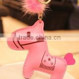 Wholesale 2014 fashion new design cheap colorful animal horse leather keychains in bulk