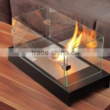 inovation 2015 aquare ethanol black metal/glass table fireplace