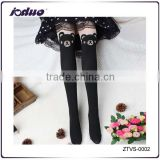 2015 Hot Selling Knee High Stocking Tattoo Bear Pantyhose Girl's black stocking mania