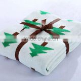Pine Tree Printed Super Soft 100% Cotton Knitted Blanket / Throw Blanket for Kids / Baby