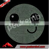 Bling Crystal Hot Fix Motif Emoji Rhinestone Smile Face Iron on Rhinestone Transfer for Kids Clothes