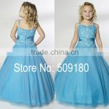 Blue Beaded Floor Length Custom Made Vestidos Girl Dress for Wedding Ball Gown FG028 wedding dress for flower girl