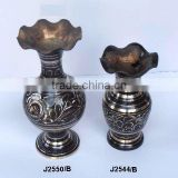 Traditional Indian Metal Vases made in Cast Brass with curving and black paint kashmiri style