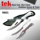 fixed blade knife for training or military use triple knives set
