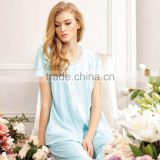 Women Pajama 100% Cotton Short Sleeve Tops and Short Bottoms Pajamas Summer New Nightwear For Womens Sleepwear