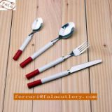 Cute Child Dinner Spoon Knife Fork Plastic Handle Cutlery Set