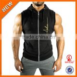 good quality custom hoodies ,men sleeveless hoodies with caps H-934