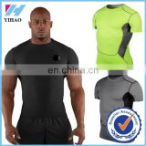 YIhao 2015 Men Sport T-Shirt Compression Base Layers Under Tops T Shirts Skins Sports Bodybuilding Fitness Running Slim Fit Tees