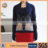 Women 2015 intarsia knit cashmere sweater coat