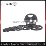 2016 hot sale/ sports fitness / 3 Holes Black Rubber Coated Olympic Plate/TZ-3007