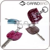 new design colorful real crocodile leather key cover key chain with metal key ring for decoration