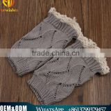 Hot sale lady winter socks girl boot cuffs diamond pattern lace trim light grey leg warmers