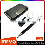 Top sellign leather card holder black key chain ring click pen business set lot