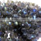 Blue Fire Labradorite Faceted Drops Shape Beads 12x7MM,14x7MM Approx 9''Inch
