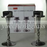 set 2 electroplated glass candle holder with twisted stand