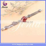 Flower design high quality red agate thai silver sting bracelet 0659S2