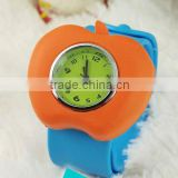 Apple-shaped colorful silicon watch, papa watch, slap on watch