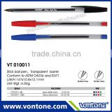 promotional stick ball point pen transparent