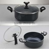 Made In China Popular Pressed Aluminium Non-Stick Casserole with Glass Lid, Heat Resisstant Coated Cookware