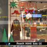 Shopping window decoration for christams day with christmas tree , balls hanging decoration
